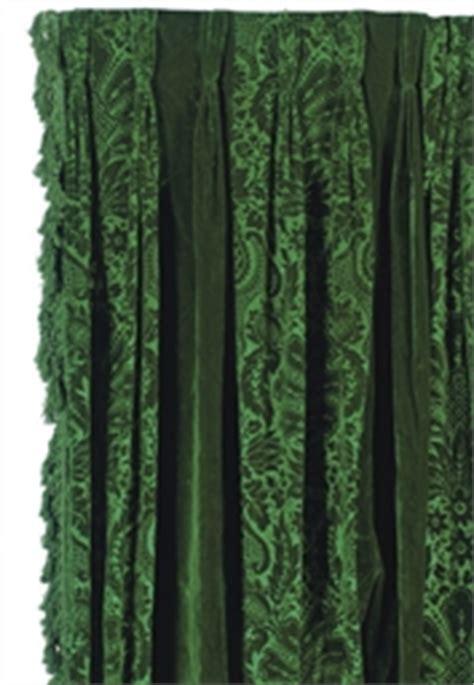 pair  emerald green velvet curtain panels late