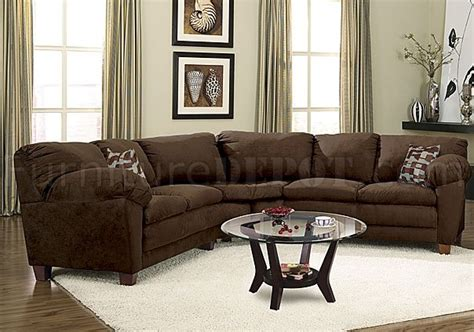brown micro suede casual sectional sofa wsuper soft arm