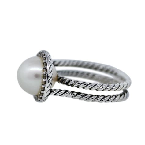 david yurman sterling silver pearl and cable ring
