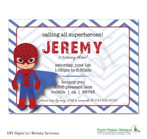 printable birthday card spiderman 11 best images of spider man printable invitation for boys