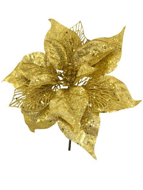 gold sequin glitter poinsettia decorative pick 26cm