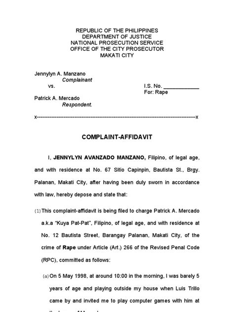 Complaint Letter Sle In The Philippines Complaint Affidavit Makati