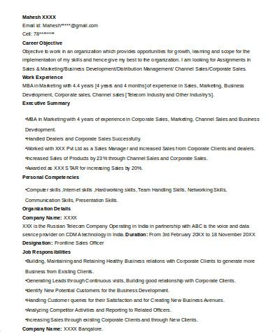 Resume Format For Mba Marketing Pdf by Marketing Resume Format Sle 8 Exles In Word Pdf