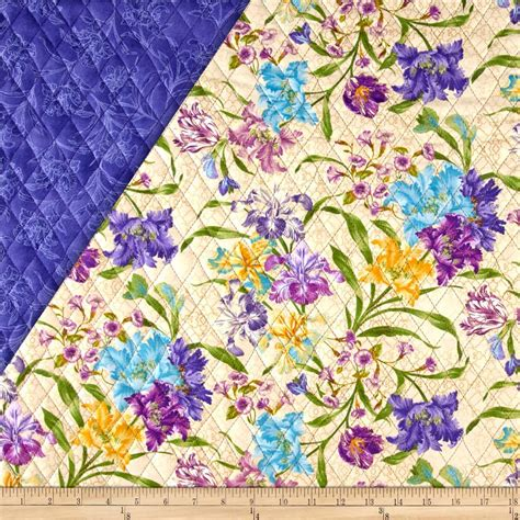 Buy Quilted Fabric garden rendezvous sided quilted floral beige discount designer fabric fabric