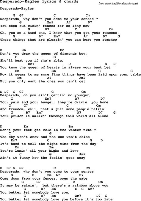 lyrics chords song lyrics for desperado eagles with chords