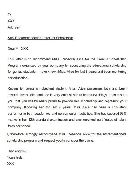 Reference Letter Template For Scholarship sle letter of recommendation for scholarship 29