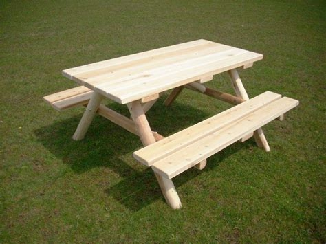 rustic picnic bench cedar log picnic table woodworking projects plans