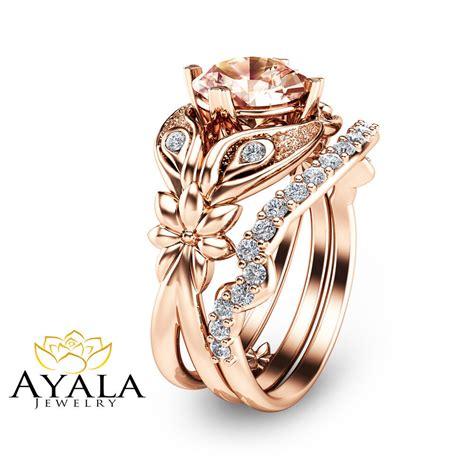 rose gold morginate bridal ring set unique 14k rose gold