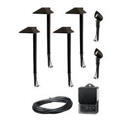 Landscape Led Lighting Kits Malibu 6 Pc Charcoal Brown Modern Led Landscape Light Kit W Transformer Cable Ebay