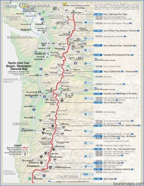 pct oregon map pacific crest trail map washington toursmaps