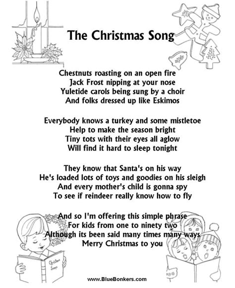 pattern up properly lyrics christmas carol lyrics the christmas song chestnuts
