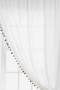 Pom Pom Curtain Panels Inspiration Muslin Curtain With Pom Pom Edge Pom Poms And Fringe Inspiration Pinterest Kitchen
