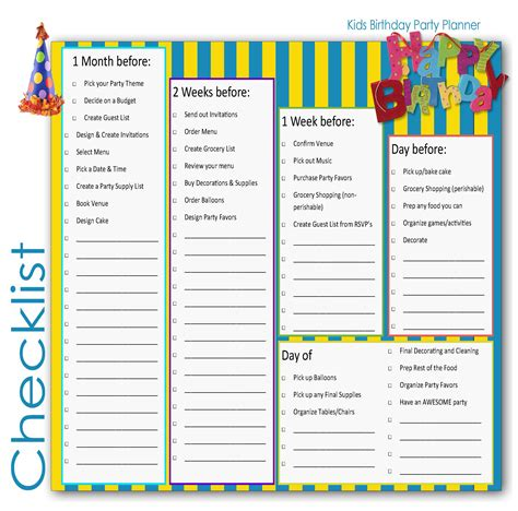 children birthday party planner checklist for kids