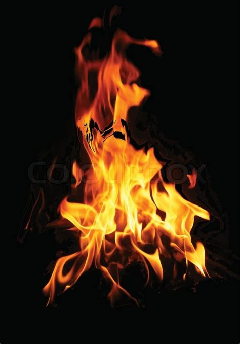 Flames For Fireplace by Illustration Of Burning On Black Background Stock Vector Colourbox