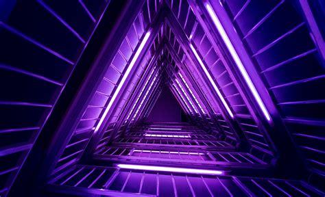 Wallpaper Lights Purple Neon Triangles 4k Photography Lights Purple