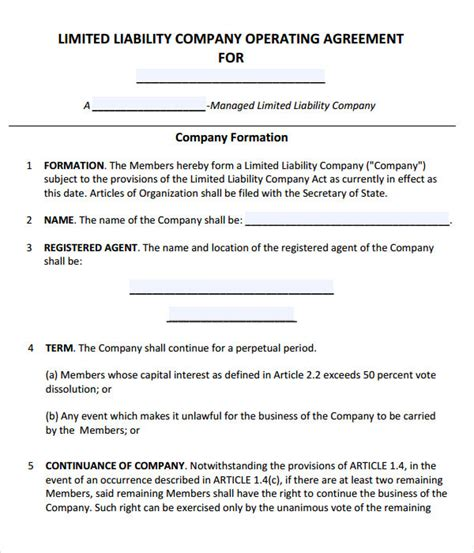 operating agreement template for llc operating agreement 8 free pdf doc