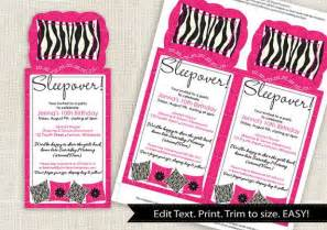 zebra sleepover invitation template instantly editable text cut out 4 x 9