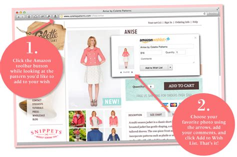 List Universal 1 how to add colette patterns to your wishlist