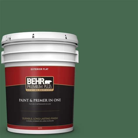 behr premium plus 5 gal m410 7 perennial green flat exterior paint 430005 the home depot