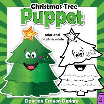 christmas tree craft activity printable paper bag puppet