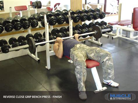 underhand grip bench press reverse grip close grip bench press video exercise guide