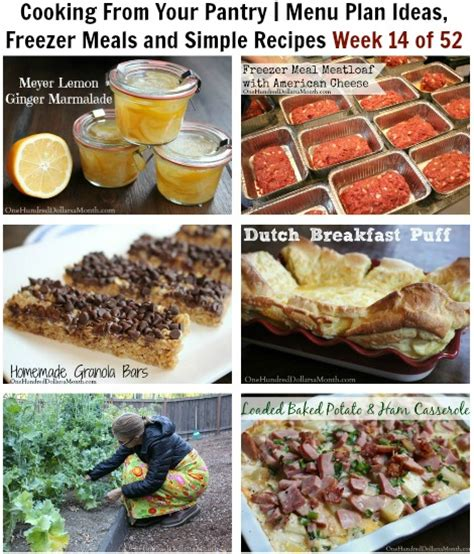 Food Pantry Recipes by Cooking From Your Pantry Menu Plan Ideas Freezer Meals