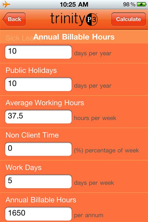 how many weeks in a year calculate agency compensation rates on this free iphone business app
