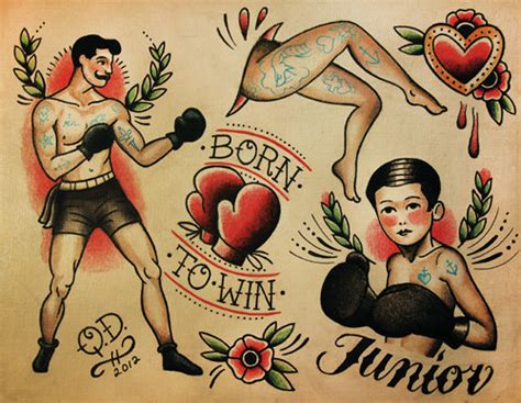 tattoo old school pugile boxing theme tattoo flash design