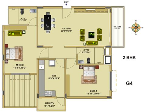 2 bhk plan floor plan fort house near hebbal lake bangalore