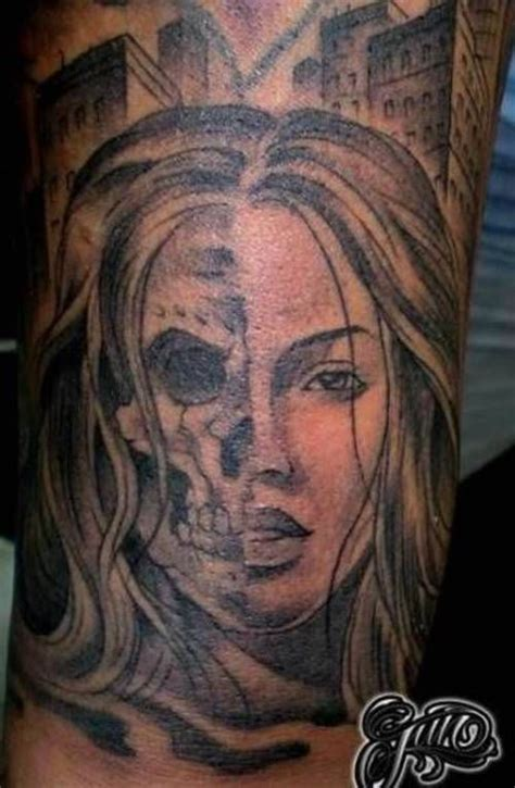 half skull face tattoos pinterest