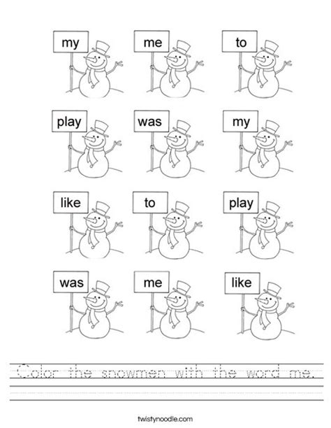 color the snowmen with the word me worksheet twisty noodle