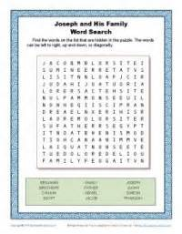 joseph and his family word search word search bible