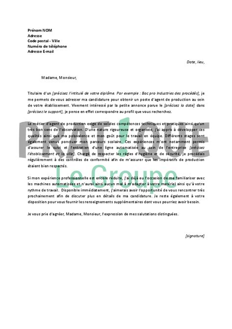Lettre De Motivation Ouvrier De Production lettre de motivation pour un emploi d de production
