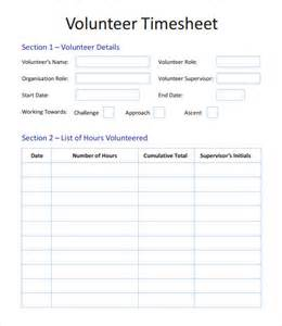Service Sheet Template by Volunteer Timesheet Template 9 Free Doccuments