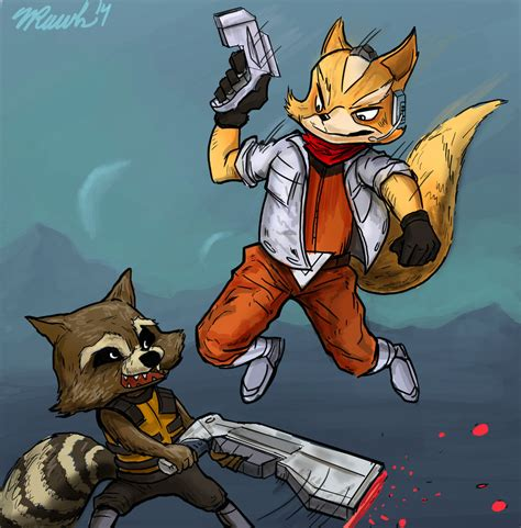 raccoon vs fox mccloud vs rocket raccoon by wrawlsart on deviantart