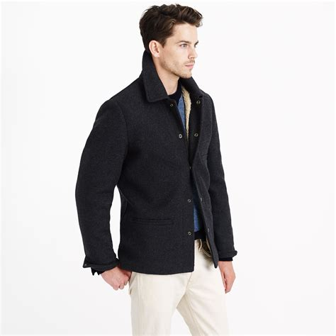 j crew tall skiff jacket with sherpa lining in gray for - Skiff Jacket With Sherpa Lining
