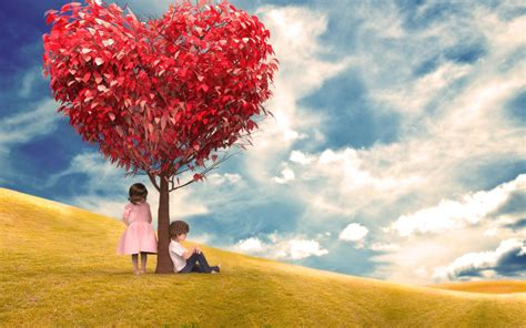 heart tree  cute couple valentines day hd wallpapers