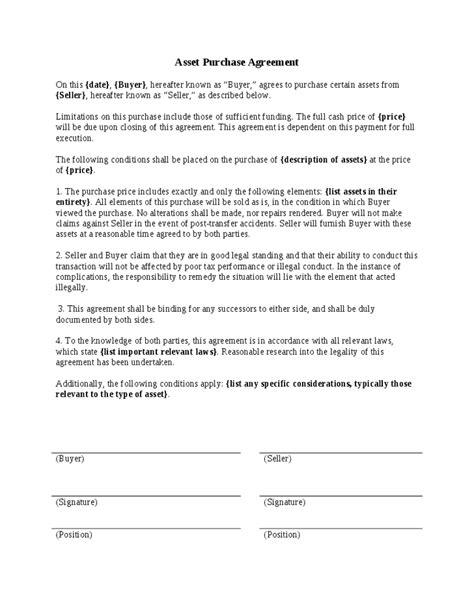 asset purchase agreement template free asset purchase agreement template hashdoc