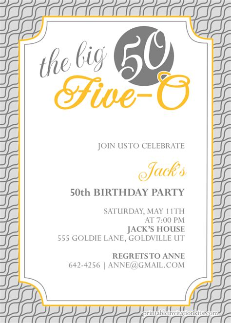 50th birthday invitation template gangcraft net