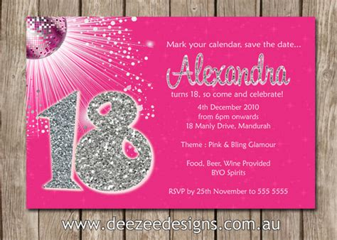 18th birthday invitation card template personalised bling birthday invitations 18th 21st 30th 40th