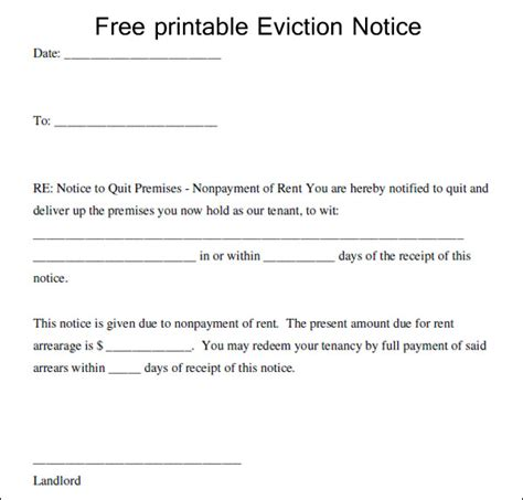 Eviction Notice Gallery Free Eviction Notice Template