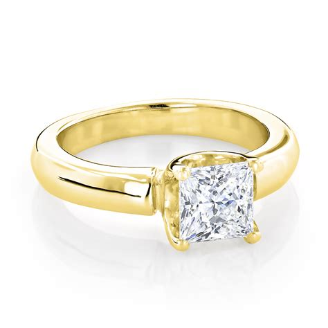 14k gold solitaire princess cut engagement ring 1