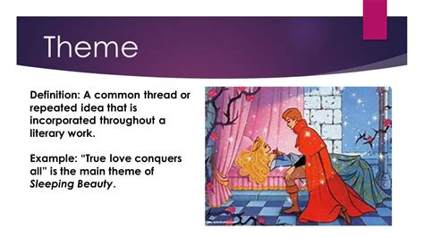 theme definition english exles 14 fancy literary techniques explained by disney ppt