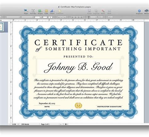 pages certificate templates free certificate template for pages and pdf mactemplates
