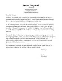 personal assistant cover letter sle the letter sle