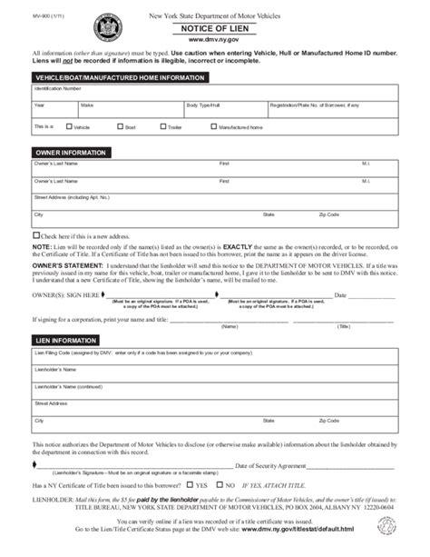 lien release forms mv 900 notice of lien form new york free