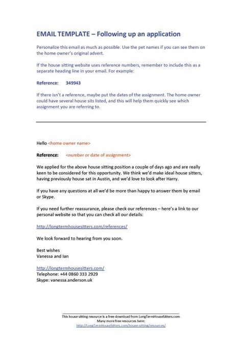 House Sitting Resources Email Template For Application