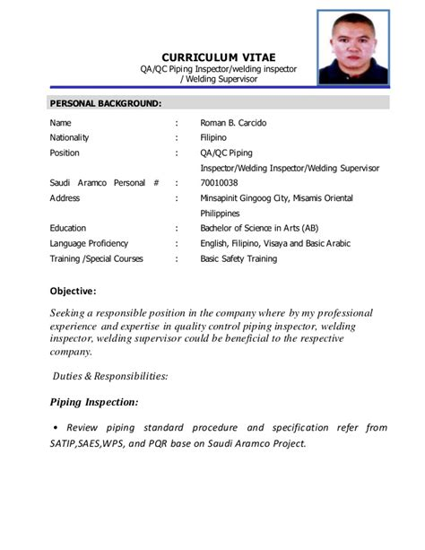 Qa Sample Resume by Curriculum Vita 2 Complete Piping