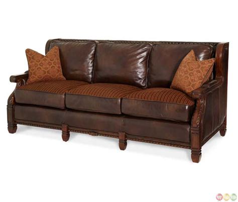 Michael Amini Windsor Court Leather And Fabric Wood Trim Sofas With Wood Trim