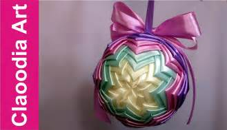 diy ribbon bauble christmas ornaments youtube